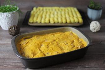 Currymedaillons mit Kroketten in der Ofenhexe und Zauberstein von Pampered Chef