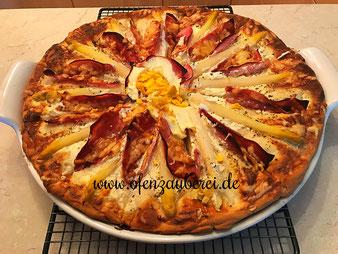 Spargel Schinken Sonne Auflauf Flammkuchen auf dem Zauberstein White Lady vom Pampered Chef Onlineshop online bestellen