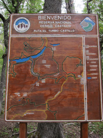 Cerro Castillo map from CONAF at the park entrance