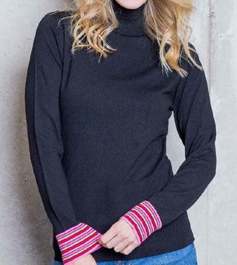 Emily Schmaler Rolli in Viskose-Mix Qualität Gestreifte Bündchen in neon und pink Softer Griff und hochwertiges Garn