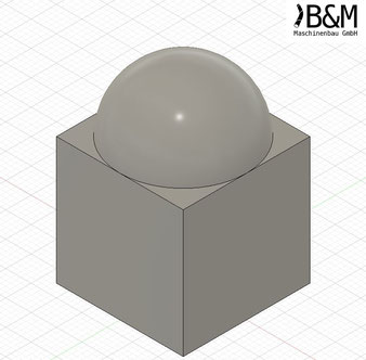 Würfel mit Kuppel im STEP Format bei BundM Maschinenbau GmbH