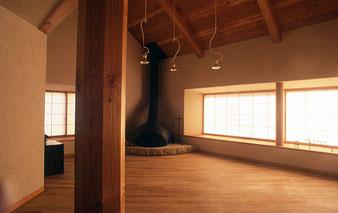 住まい塾 府中の舎 制作暖炉 大谷石 大きな出窓