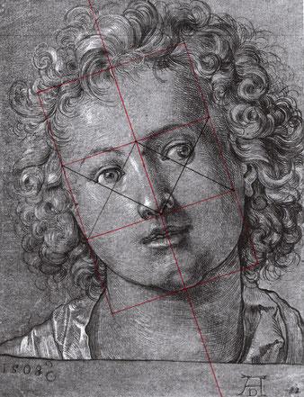 (Bild 7) Albrecht Dürer, Kopf eines Knaben, 1508, Pinselzeichnung, 27 x 20,8 cm, Donnington Priory, Newbury, Berkshire (Scan aus: Friedrich Winkler, Die Zeichnungen Albrecht Dürers, Bd. II: 1503 - 1510/11, Berlin 1937, Nr. 437), mit Handkonstruktion