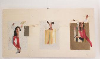 Menschencolage auf Karton, farbige Gestaltung in drei Bildern, hochformatig aufgeklebt, warmgrauer Karton 60 x 80 cm