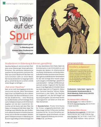 """Zeitungsartikel im """"My time""""-Magazin vom Juli 2009:""""Dem Täter auf der Spur""""- Quelle: My time"""