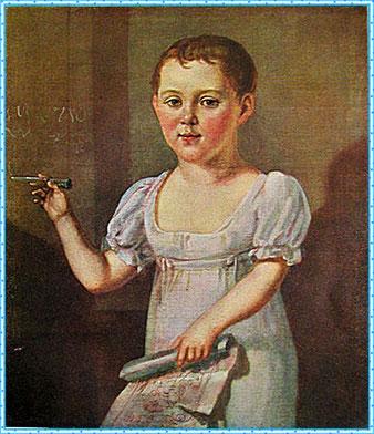 Портрет М.Ю. Лермонтова в возрасте 3-4х лет. 1817-18 гг. Неизвестный художник.