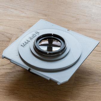 Heliar 4.5/5 cm mit COMPUR II Hülse 4/II auf Objektivplatte aus dem 3D-Drucker. Foto: bonnescape.de