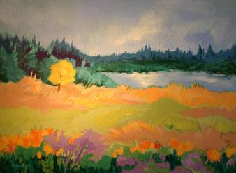 Acrylgemälde, Landschaft, gunnar mozer