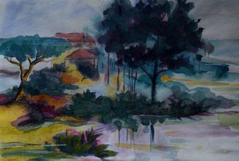 aquarell, landschaft, gunnar mozer