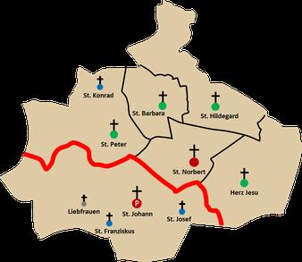 Die Pfarreien St. Johann und St. Norbert bisher