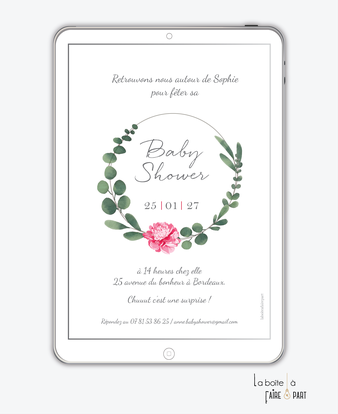invitation-baby-shower-numérique-invitation-baby-shower-digital-baby-shower-numérique-pdf-numérique-baby-shower-connecté-baby-shower-invitation-baby-shower-à-envoyer-par-mms-par-mail-réseaux-sociaux-whatsapp-facebook-couronne-eucalyptus-pivoine