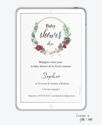 invitation-baby-shower-numérique-invitation-baby-shower-digital-baby-shower-numérique-pdf-numérique-baby-shower-connecté-baby-shopwer-invitation-baby-shower-à-envoyer-par-sms-mms-par-mail-réseaux-sociaux-whatsapp-facebook-couronne-pivoine-noeud-eucalyptus