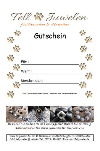 Gutschein für Tierhaarschmuck Schmuck aus Tierhaaren Felljuwelen
