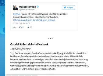 """Sigmar Gabriel informiert die SPD und uns alle etwas später über facebook: """"..ist der SPD natürlich bekannt.."""". Screenshot ard.de: Helga Karl"""