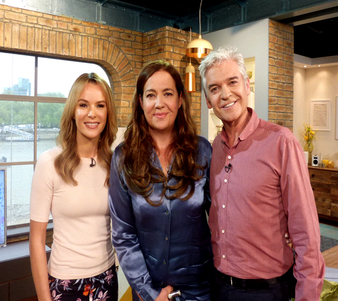 Love & Justice author Diana Morgan-Hill with Philip Schofield and Amanda Holden on ITV This Morning
