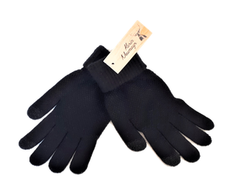 Handschuh mit Umschlag, uni schwarz, Touchscreen-fähig