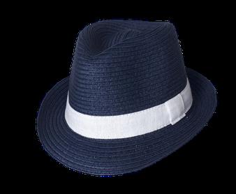 """7081 Sommerhut Kinder """"Pauli, blau mit weißem Band"""