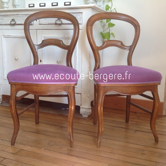 Chaises Louis Philippe tissu violet Casamance