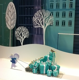 Vitrine Tiffany's pour Noël 2014, à Barcelone.