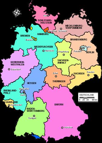 Karte Bundesländer mit Hauptstädten