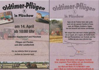 Plakat, Wegzeichnung, Beschreibung der Veranstaltung, Fotos von Traktoren, Pferdegespannen und Gebäuden