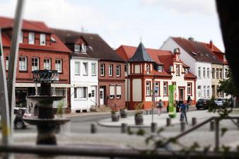 Innenstadt Grevesmühlen, Blick über den Krähenbrunnen