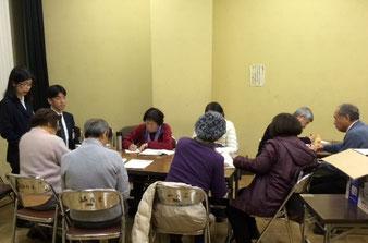 ☆勉強会の開催日時などを記入中。ただ今20:51分 なんと8名も残られました。左のスーツの男性はS館長様。