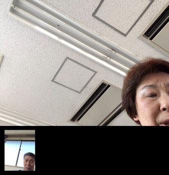 ☆iPadの通話状況を画面キャプチャー。左下に山根の顔が小さく写っています。