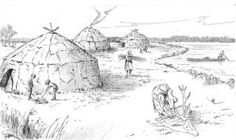 Zelte am Haspelsee. Grafik von Hans Stölzl