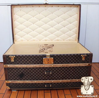 interior of louis vuitton trunk quilting and old canvas