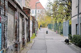 Der Seitenaufgang zum Bötzow-Viertel: Der Weg zwischen Greifwalder Straße, Schweizer Garten und Am Friedrichshain. Fotos (2): al
