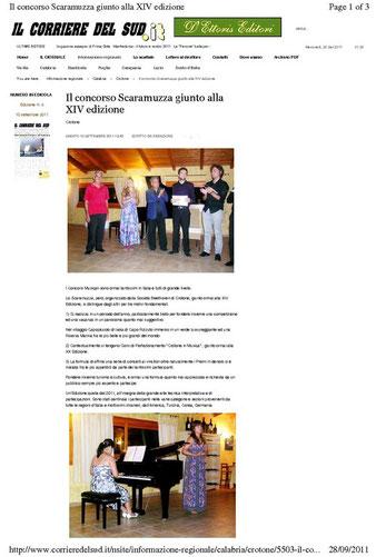 """CONCORSO INTERNAZIONALE DI MUSICA """"V. SCARAMUZZA"""" - XIV EDIZIONE"""