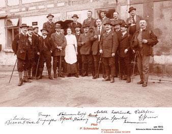 """Mitglieder des Gebirgsvereins für die Sächsische Schweiz - Sektion Radeberg 1913, Exkursion zur """"Böhmischen Mühle"""" Hinterdaubitz / Kirnitzschtal. Theodor Arldt hinten 3. v.r."""