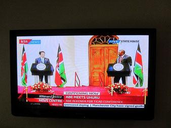 ケニアのKBCテレビで生放送中!