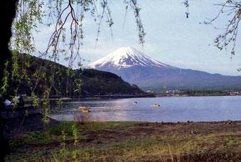 der Fuji-yama meist von Wolken umhüllt