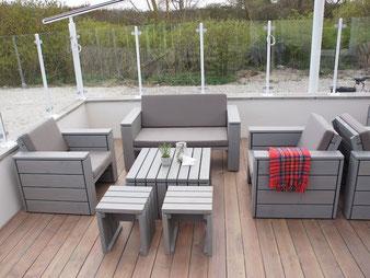 Loungemöbel Set aus Holz, Oberfäche: Transparent Geölt Grau