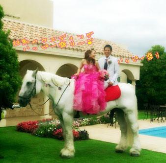 乗馬施設まで来ていただき、二人乗りの練習もされました。本番に、マリンゴを歩かせるときも、安心でした。