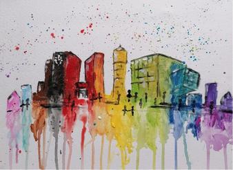 Gemeinsam zeichnen und malen wir die Skyline von Gütersloh