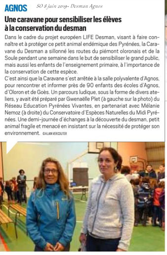 La Caravanne du Desman est passée à Agnos- article Sud Ouest du 8 juin 2019 par ACCOB