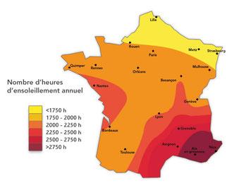 Carte énergie solaire et ensoleillement annuel