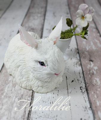 Zucker Kaninchen und Stiefmütterchen aus Blütenpaste