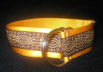 Zugstopp, Halsband, 4cm, Gurtband sonnengelb, Borte Ornament