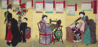 「女官洋服裁縫之圖」1887(明治20)年/個人蔵