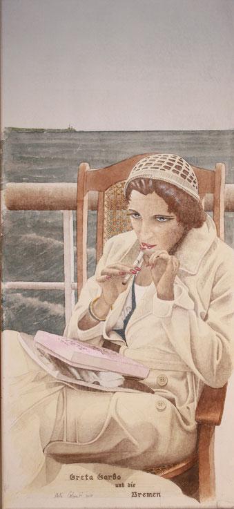 """Greta Garbo und die """"Bremen"""" acryl auf Leinwand  65 x 30 cm"""