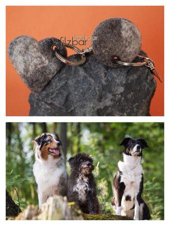 Filzschlüsselanhänger; Hundeschlüsselanhänger