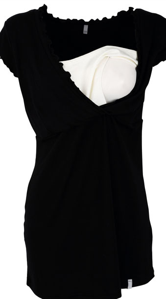 short sleeve maternity tunic black