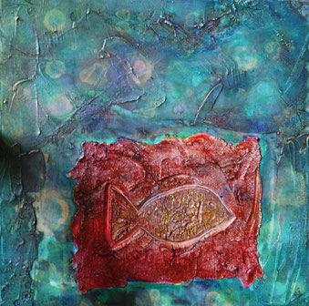 Artigkeit, Claudia Karrasch, Bonn, Malen, Abstrakte Malerei, Kunst, Studio, Fischlein, Acryl, Marmormehl, etc., auf Leinwand, 40 x 40 cm, Oktober 2009