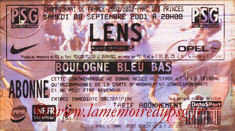 Ticket  PSG-Lens  2001-02