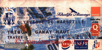 Ticket  Marseille-PSG  2001-02