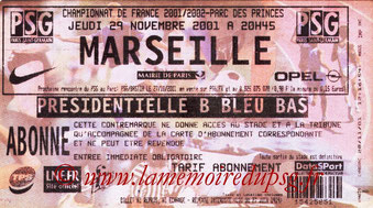 Ticket  PSG-Marseille  2001-02